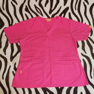 WonderWink pink scrub top